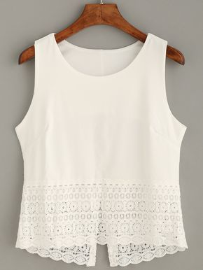 Top crochet tank - blanco-Spanish SheIn(Sheinside) Sitio Móvil