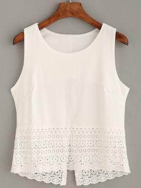 Top crochet tank - blanco-Spanish SheIn(Sheinside)