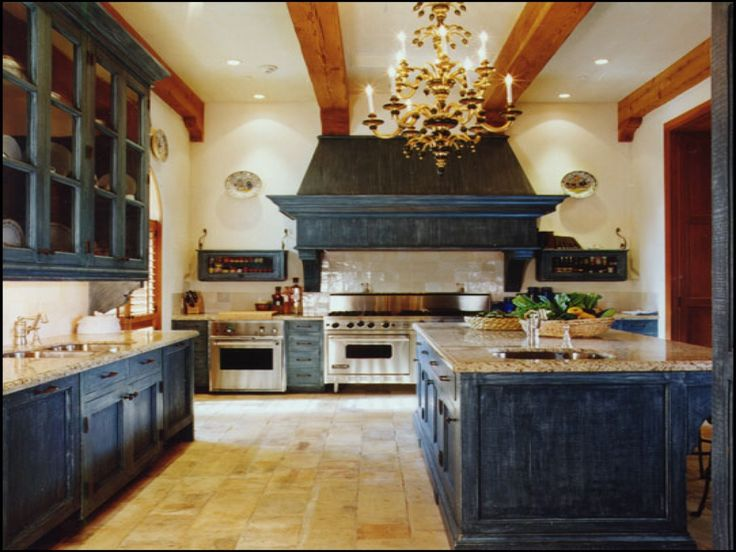 amusing cream kitchen cabinets | Amusing rustic blue kitchen cabinets with chandeliers ...