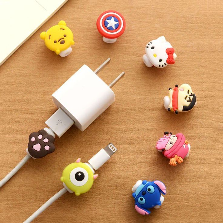 FFFAS Cute Kawaii Lovely Cartoon Cable Protector USB Cable Winder Cover Case Shell For IPhone 5 5s 6 6s 7s plus cable Protect