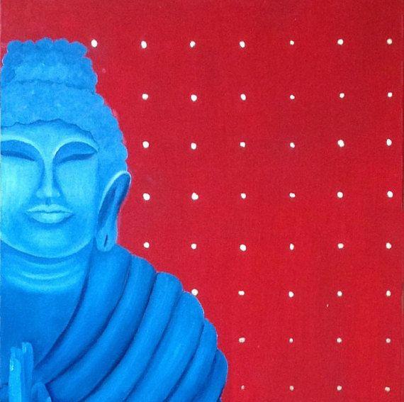 Buddha oin on canvas 50x110 cm 20х43 in ready to by dariartgallery