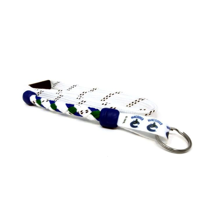 Vancouver Canucks braided hockey lace lanyard. Braided with actual hockey skate lace and team colors. Made with a high detail logo team logo tag.