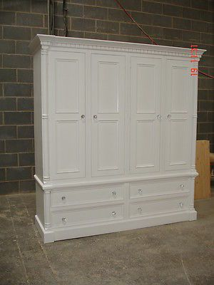 Georgian Style White Painted Large 4 door Solid Pine Shabby Chic Wardrobe