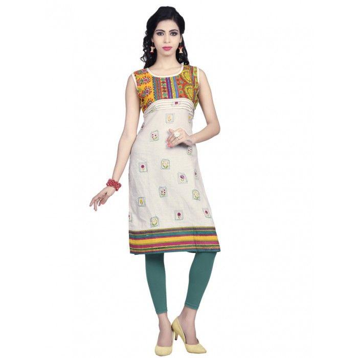 Cream and Green color Pure cotton kurti