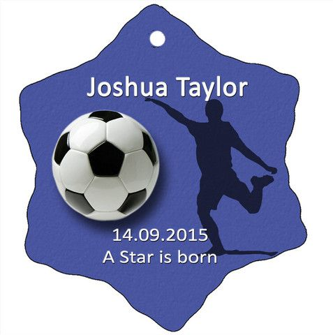 Personalised Christmas Tree Ornament, Soccer Design