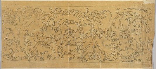 Rinceau Border with Unicorn and Inlay on copper, Italian 18th century  John Gregory Crace (British, London 1809–1889 Dulwich)  Date: 19th century Medium: Graphite Dimensions: sheet (folded): 27 3/4 x 14 in. (70.5 x 35.6 cm) Classification: Drawings met museum