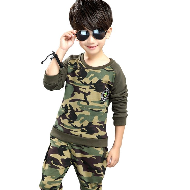 2017 Spring Fall Children Camouflage Clothing Set Boys Long Sleeve Military Uniform 2 Pcs Kids Spliced Sport Suit Tracksuit