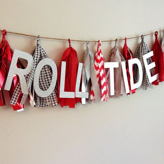 Tissue Tassel Garland  University of Alabama by CharminglyKristin, $27.00