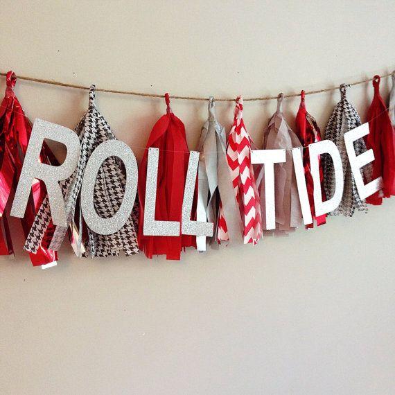 Tissue Tassel Garland University Of Alabama By CharminglyKristin, $27.00. Alabama  RoomAlabama DecorAlabama ...