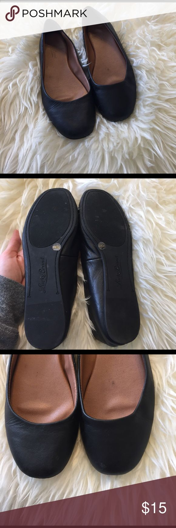 Lucky brand black leather flats size 6.5 Comfy! Black leather round toe lucky brand size 6.5 Lucky Brand Shoes Flats & Loafers