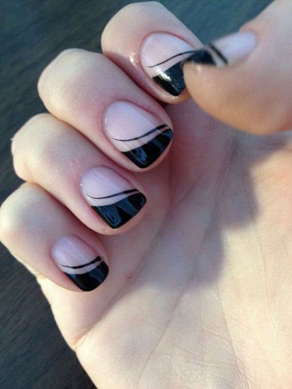 Black French Tips Nail Design.