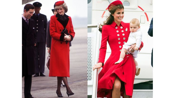 Diana arrives at Birmingham Airport in Catherine Walker, 1984; Kate and Prince George arrive at Wellington Airport in New Zealand for the beginning of the Royal Tour of Australia and New Zealand, 2014.   - ELLE.com