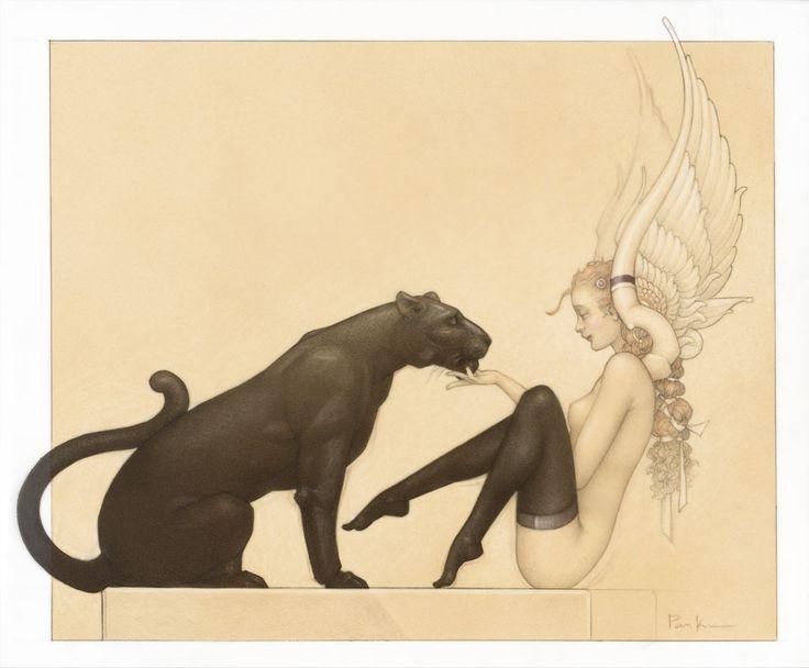"Parkes, Michael  ""Black Panther White Wings - 2013  (Drawing Edition on Paper)""  Drawing Edition on Paper    22 x 19 inches  Edition 160 S 16 EA's    25 x 22 inches  Edition 25"