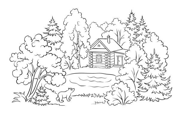 Coloring Illustrations Royalty Free Vector Graphics Clip Art Istock Coloring Books Book Illustration Forest Coloring Pages