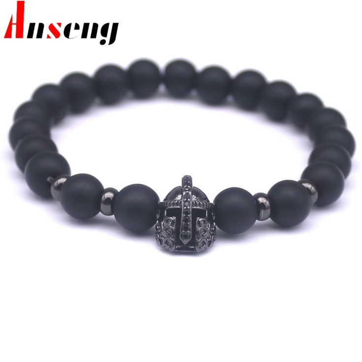 Good Gift! New Fashion Cubic Zirconia Charm Bracelets For Men Women Popular Soldier Helmet Braiding Brand Macrame Bead Bracelet.