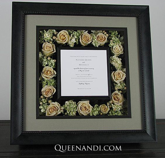 Transform your wedding flowers into a lasting work of art! This shadowbox showcases @larsonjuhl frame - Goya, @nbframing mat - Autumn Frost (Foreground) and Fairfield (Background). #queenandi #floralpreservation #weddingflowers
