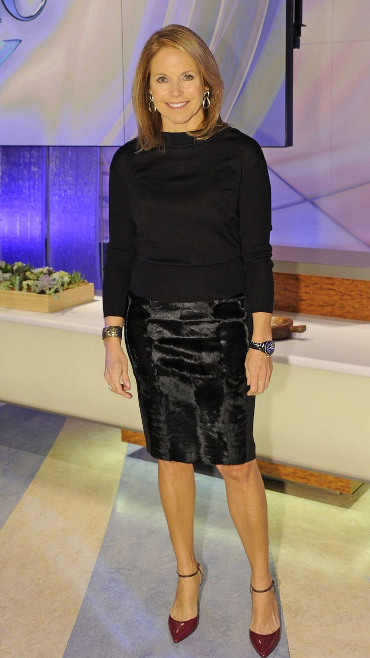 On our show about medical mysteries, Katie Couric wore a Max Mara skirt and sweater, Jean Michel Cazabat heels, Slane earrings & an Alexandra Beth Designs cuff