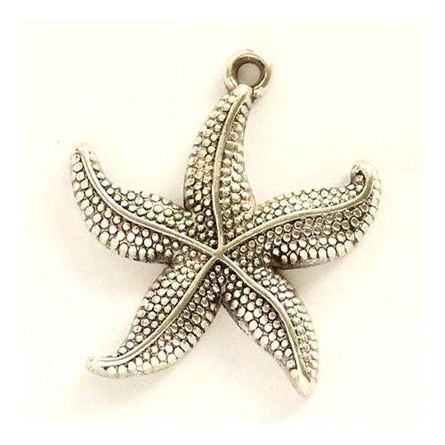 Antikolt ezüst színű tengericsillag függő dísz - Függő díszek, fityegők - Csinálj Ékszert! webáruház