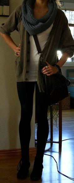 black leggings or hose, black wedge ankle boots, white shirt, cardigan/sweater, and big wool eternity scarf.
