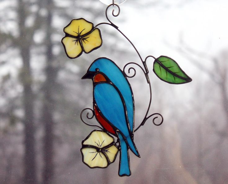 Stained Glass Bluebird Suncatcher Glass Art, Wildlife Art, Bird Lovers Gift by BerlinGlass on Etsy