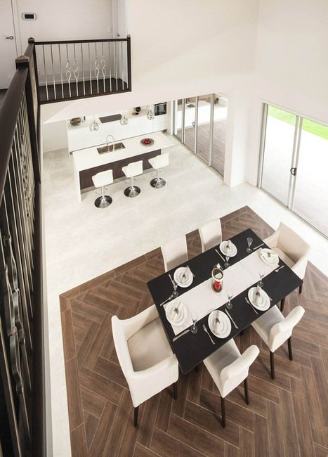 Stunning view from upstairs of this luxury home. #design# Kitchendining #customhome