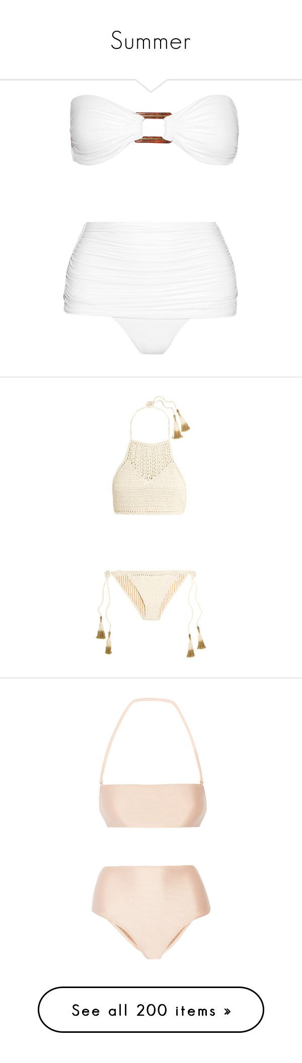 """Summer"" by pinkypanky ❤ liked on Polyvore featuring white, tie bikini, white bikini, bandeau top, scrunch bikini, ruched high waisted bikini, swimwear, bikinis, swimsuits and bikini"