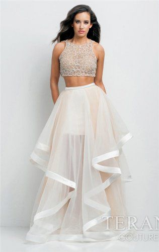 White Nude Two Piece Prom Dresses Terani Couture @ Bridal Elegance Erie PA