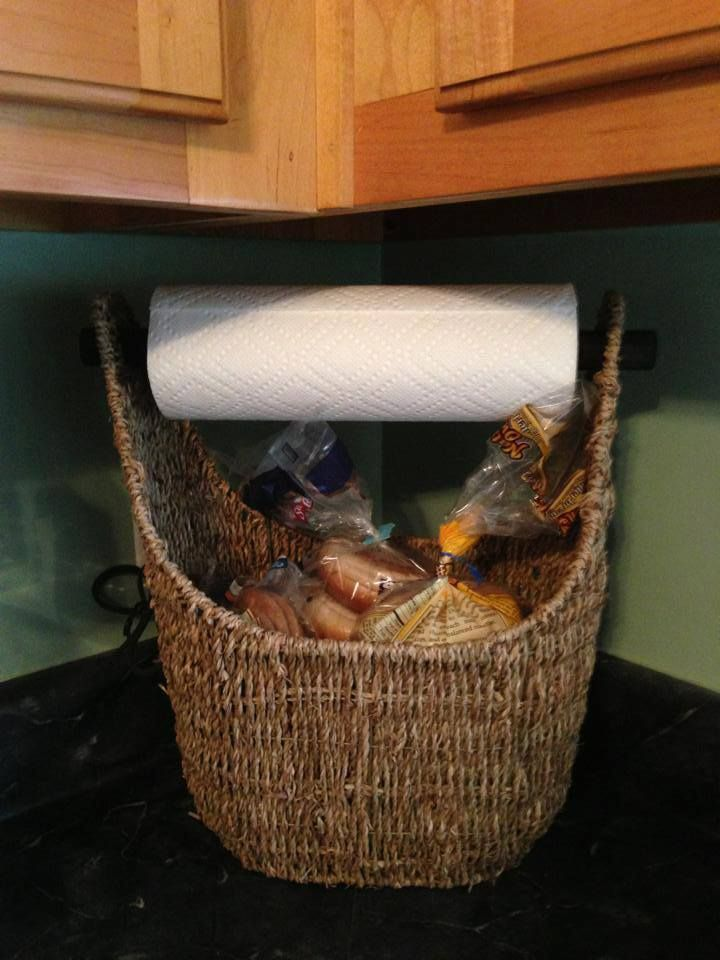 small magazine basket can be used for a bread basket & paper towel holder. http://www.thirtyonegifts.com/catalog/product/8/catid/16/