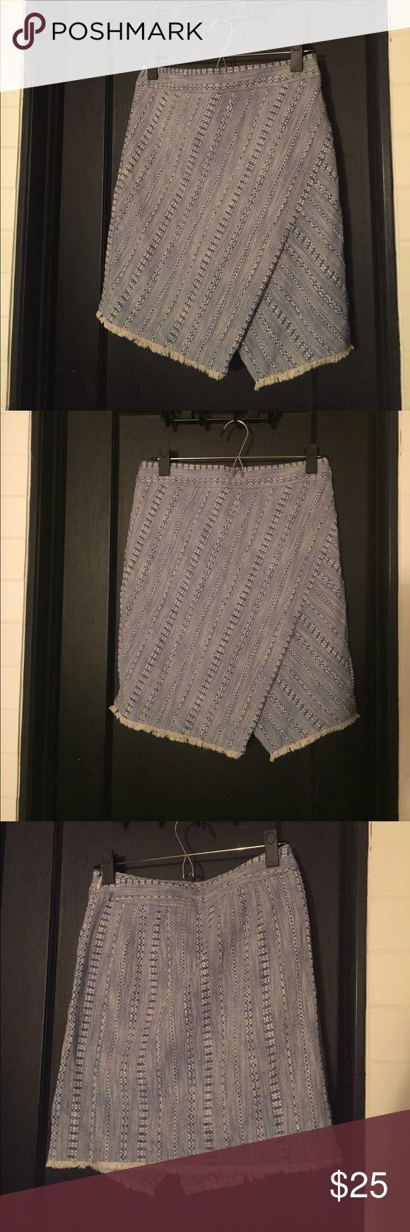 Blue fringe skirt Blue and white skirt with asymmetric slit (still business casual friendly!) and fringe detail LOFT Skirts