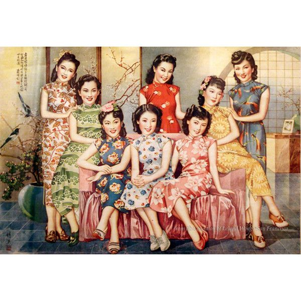 Vintage Shanghai Woman Posters found on Polyvore featuring polyvore, backgrounds, asian, oriental, people and pictures
