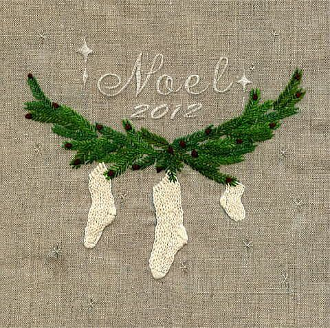 Embroidered Christmas stockings on linen, simple and elegant. This site has beautiful work!