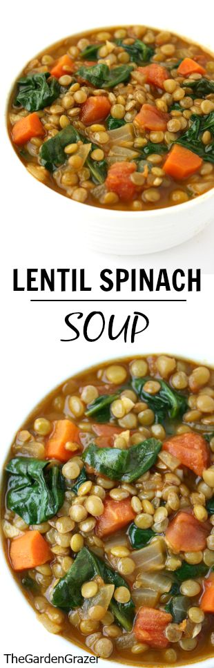 Crowd-pleasing Lentil Spinach Soup spiked with cumin and smoked paprika. Simple, nutrient-dense, and a great freezer meal! | thegardengrazer.com | #vegan #gf #soup