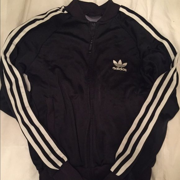 Adidas Superstar Track Jacket Black and white adidas originals zip up track jacket. Side pockets. Women's Size small. Hardly worn. Very on trend! Adidas Other
