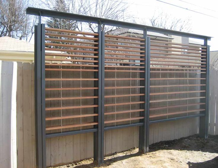 Metal and wood slat modern trellis exterior improvements for Wooden garden screen designs