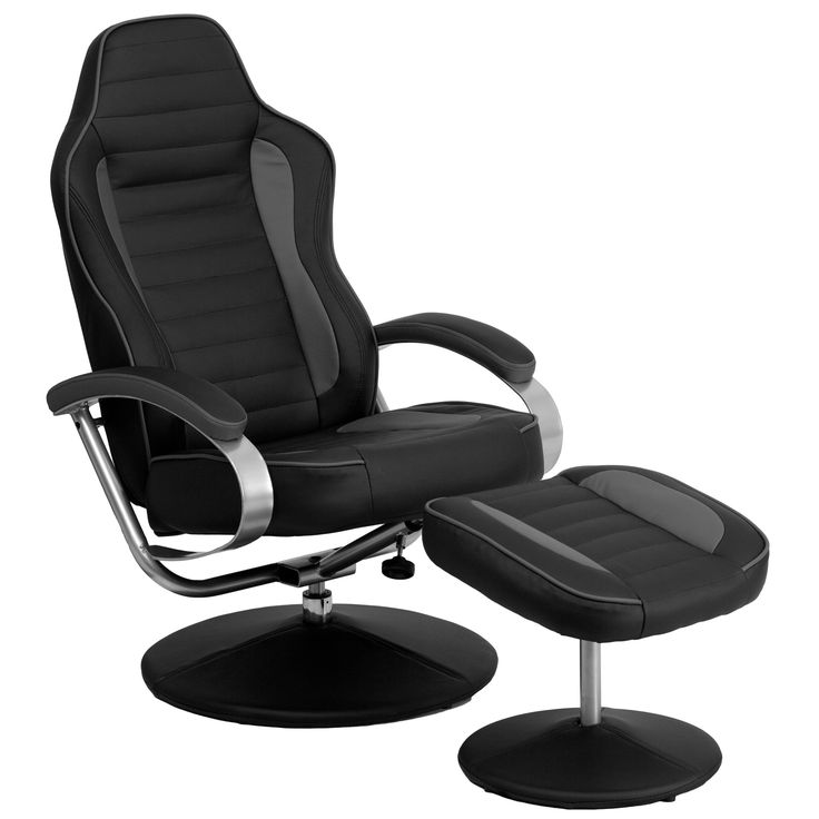 Racing Style Black and Gray Vinyl Recliner and Ottoman CH-125695-GG