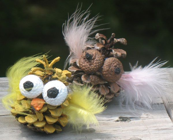 Pine Cone Owls: Summer Camp Crafts and Lessons for Kids: KinderArt ®