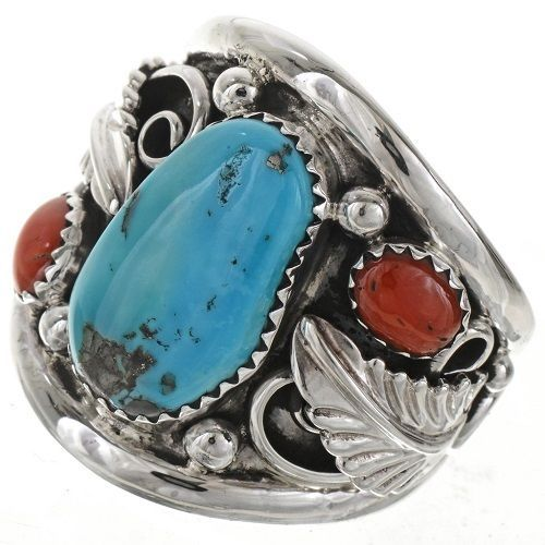 TURQUOISE RED CORAL MEN'S STERLING SILVER NAVAJO RING SLEEPING BEAUTY TURQUOISE  | Jewelry & Watches, Ethnic, Regional & Tribal, Native American | eBay!