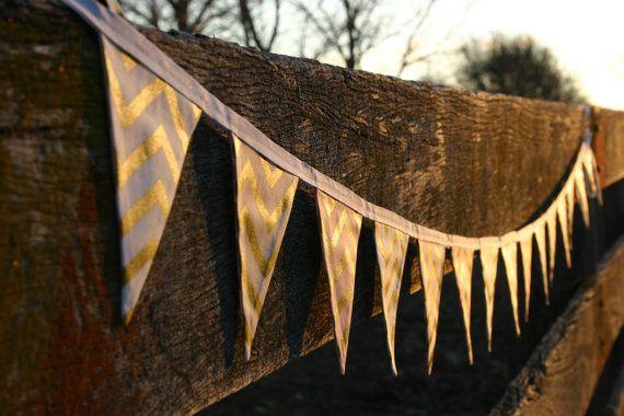 Mini Fabric Bunting - Pink, Gold, White Glitz Chevron, Photo Prop, Party Decor…