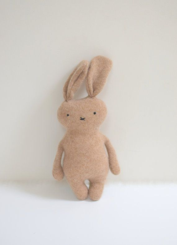 Stuffed cashmere Bunny doll brown Rabbit doll soft toy by bubyNoa