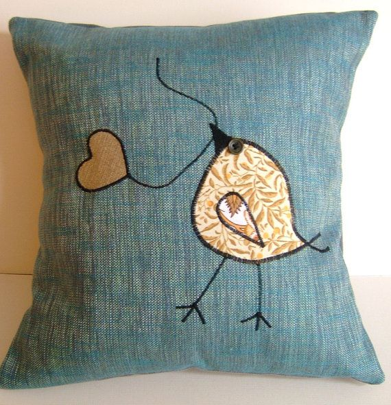 Tweet Appliqued Bird & Heart Leaf  Pillow by codgerbags on Etsy