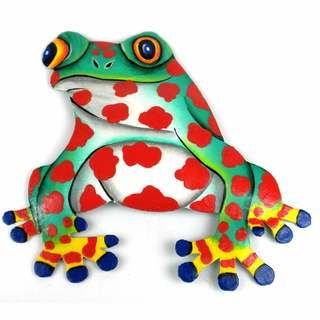 Hand Painted Metal Bullfrog Red Spots Design (Haiti) - Overstock™ Shopping - Top Rated Global Crafts Wall Hangings