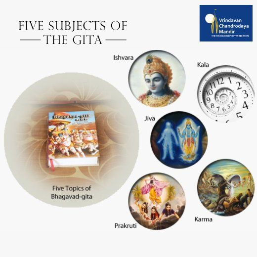 The 5 major subjects of the Bhagavad Gita are:​ 1) The Supreme Controller, 2) the living being, 3) material nature, 4) time and 5) karma.