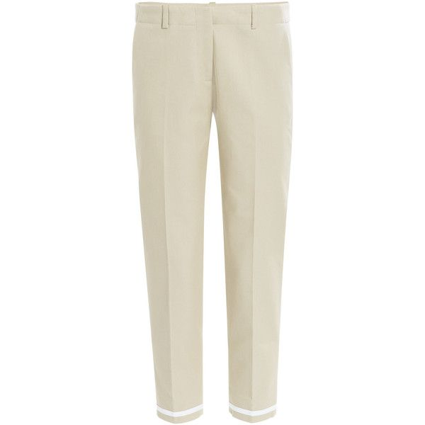 Victoria Beckham Denim Cotton Twill Cropped Pants (€105) ❤ liked on Polyvore featuring pants, capris, bottoms, pantalones, pantaloni, beige, cropped pants, zip pants, brown crop pants and slim-fit trousers