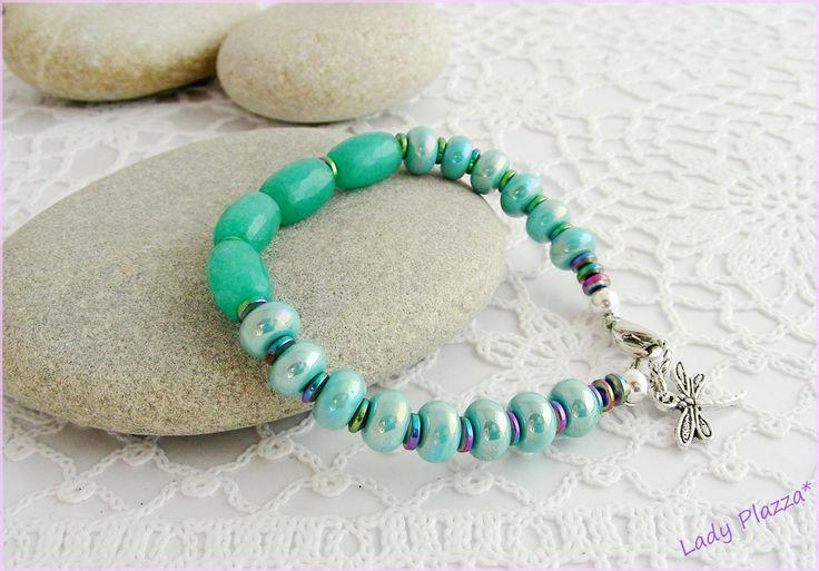 Bracelet Agate verte, Céramique, Titane - Vert/Turquoise, Breloque Libellule : Bracelet par ladyplazza