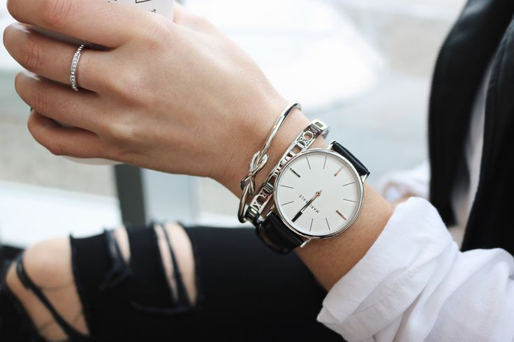 Marc Bale Silver Black Leather watch and Skinny Roman Empress Bangle from @thepeachbox