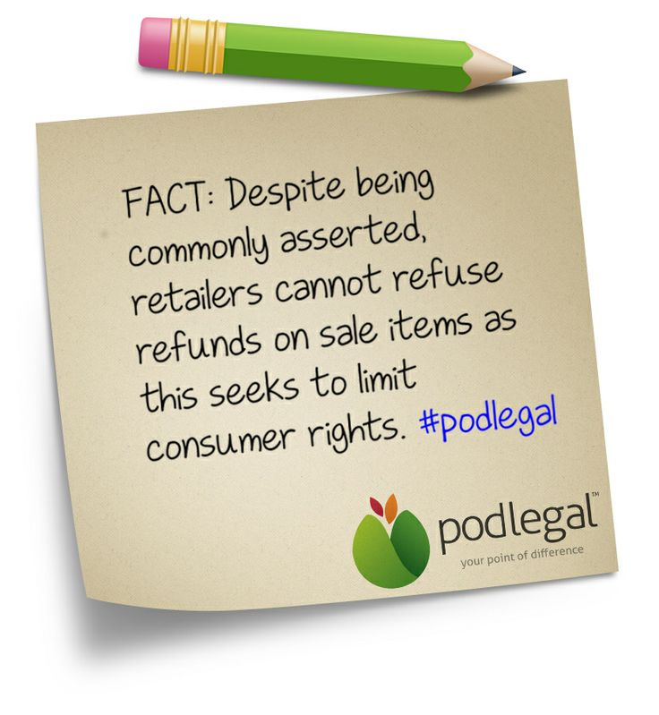 STICKY NOTE: Can your business refuse a refund on sale items? #consumer #commerce #eCommerce #retail #AustralianConsumerLaw #ACL #podlegal #stickynote