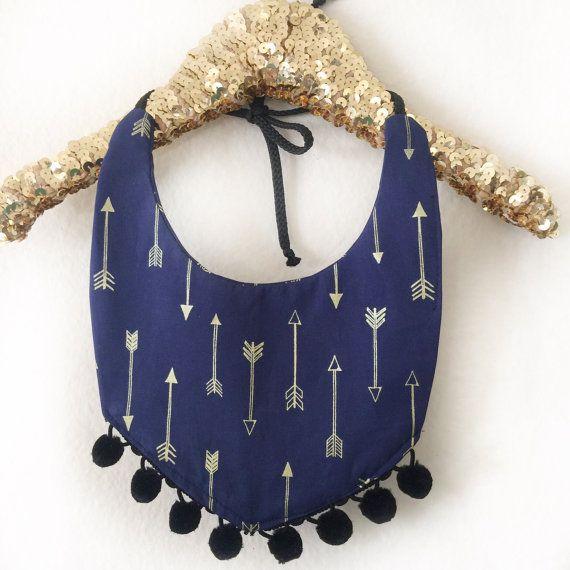 Baby Accessories bib, kids fashion, pompom, baby accessory, drool bib, kids accessory, pompom bib, baby, Bib in navy & gold arrows