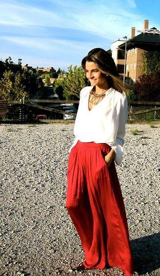 Long Red Skirt / Falda Larga y Roja (by Silvia  Garcia Blanco) http://lookbook.nu/look/4144504-Long-Red-Skirt-Falda-Larga-y-Roja