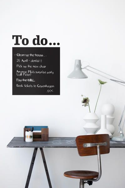 """The """"To Do"""" -Wandsticker of Ferm Living transforms any wall into a practical note board. The accompanying chalk the wall tattoo can be inscribed and be washed by the surface of vinyl again. The simple desk and the old swivel chair miss the workplace in a charming natural look."""