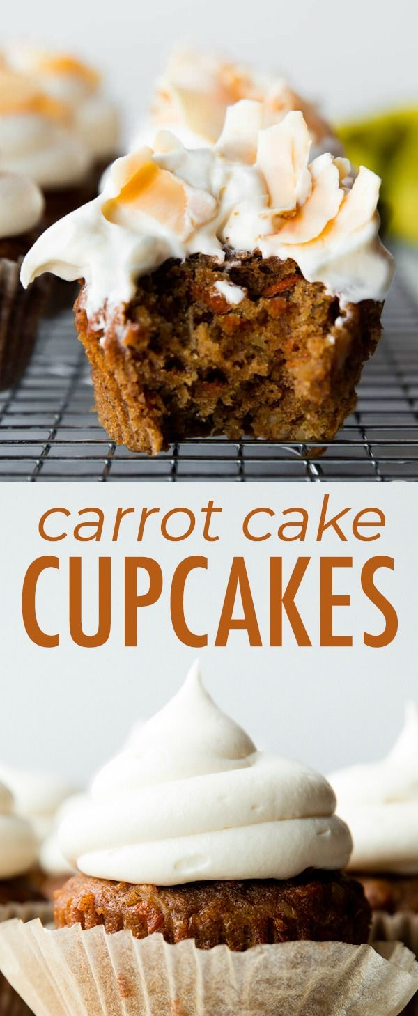 super spiced and moist carrot cake cupcakes filled with shredded coconut and topped with creamy cre carrot cake cupcakes frosting recipes carrot cupcake recipe pinterest